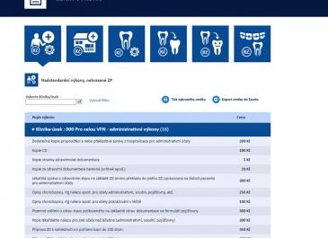 SharePoint - VFN v Praze - aplikace Ceník výkonů